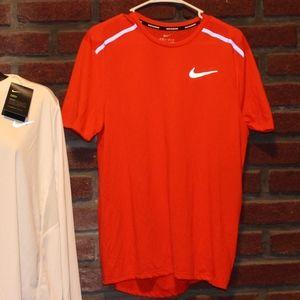 "Men's Red Orange Nike Running ""Breathe"" T-Shirt"